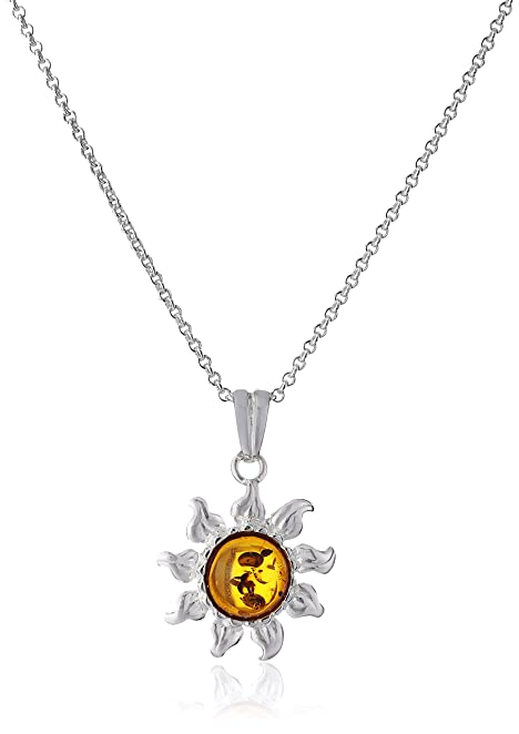 Amazon amber sterling silver sun pendant necklace 18 jewelry amber sterling silver sun pendant necklace 18quot mozeypictures Images