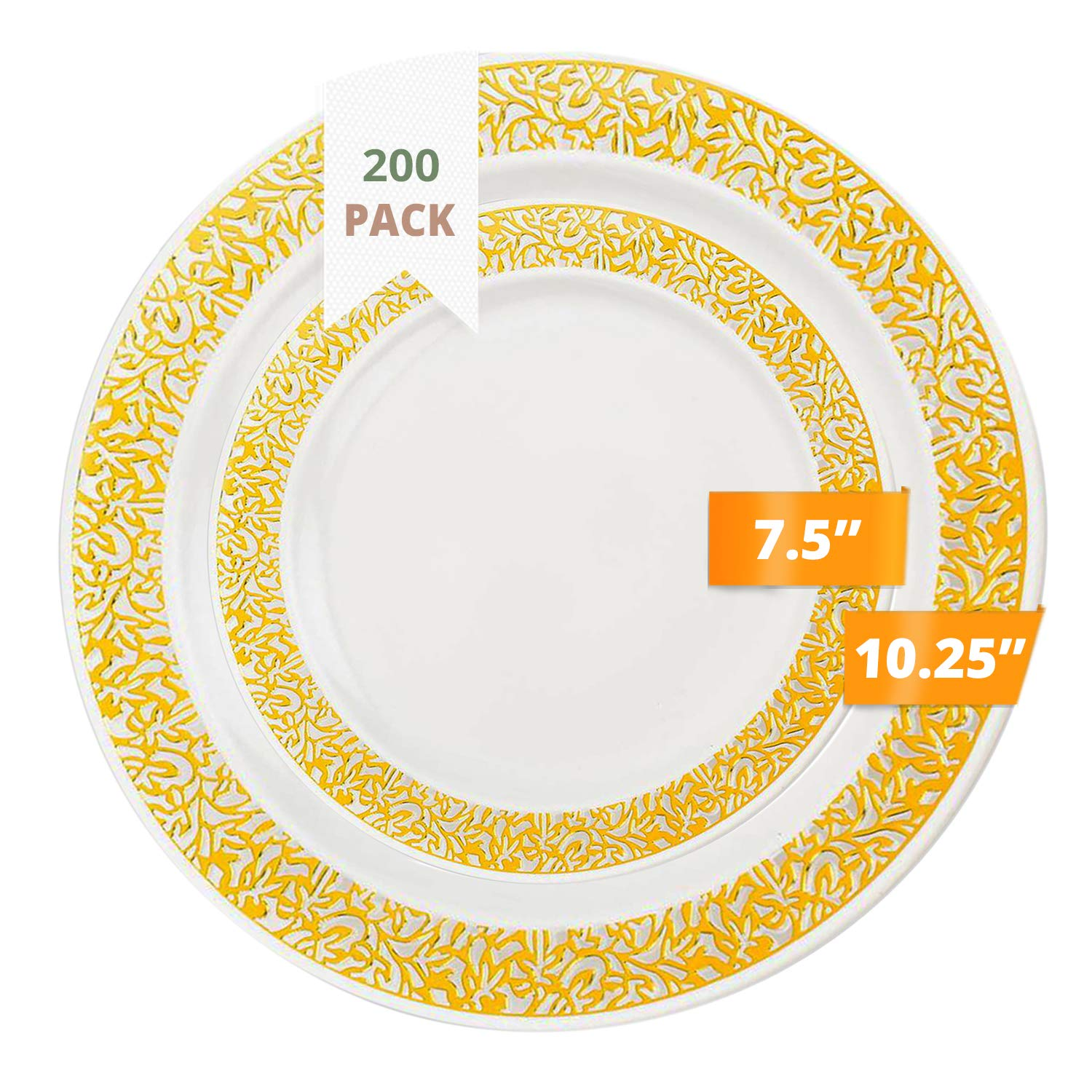 Amazon Com Party Joy 200 Piece Plastic Dinnerware Set Lace Collection 100 Dinner Plates 100 Salad Plates Heavy Duty Premium Plastic Plates For Wedding Parties Camping More White W