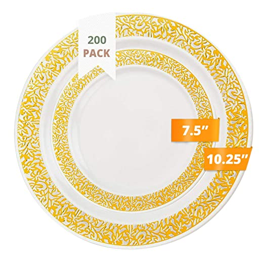 200er-Set Paper Plates White Ø23cm Disposable Tableware Snack Plates Party Plates Catering