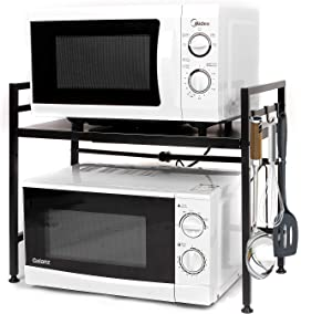 Envedette Microwave Stand on Counter, Expandable and Height Adjustable Microwave Oven Rack with Black Coating, Carbon Steel Kitchen Microwave Shelf, Toaster and Baker Organizer Shelf with 3 Hooks