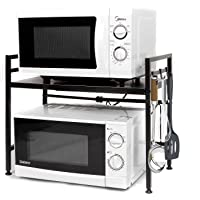Envedette Microwave Rack Expandable and Height Adjustable, Carbon Steel Microwave Stand Kitchen Counter Orgaizer Shelf…