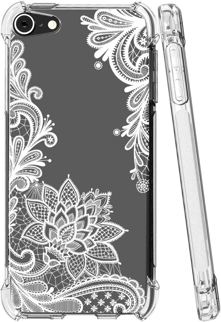 iPod Touch 7 Case, Touch 6 Case with Flowers, Sidande Shockproof Clear Floral Soft Flexible TPU Slim Phone Case Cover for Apple iPod Touch 5/6/7th Generation (White Mandala)
