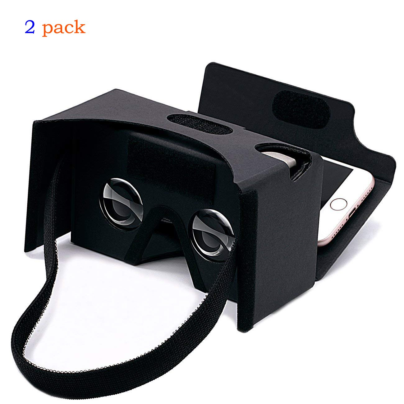 2Pack Google Cardboard 3D Virtual Reality Headset Glasses,DIY VR Cardboard Compatible with 3-6inch Screen Android and iPhone Smartphone Black