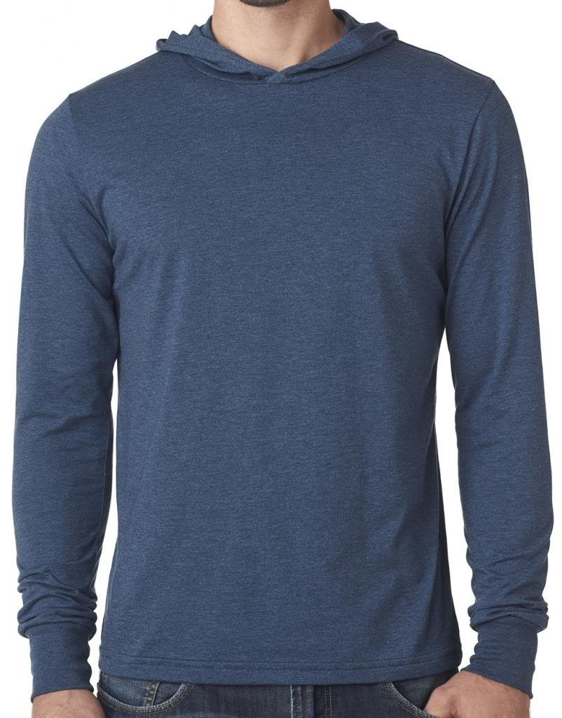 Yoga Clothing For You Mens Lightweight Long Sleeve Hoodie Tee Shirt, Large Heather Navy