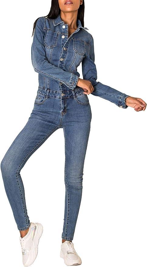 Tuta jeans nera donna elasticizzata aderente overall skinny manica lunga nuova