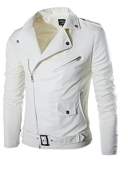 071c1d7bb9a9b WSLCN Homme Veste Simili Cuir Moto Blouson Motard Imitation Cuir Col Roulé Zippé  Imperméable Blanc FR