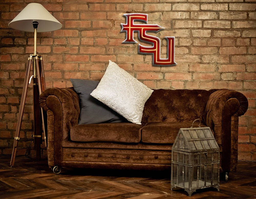 Gear New Florida State University Fsu Letters 3D Vintage Metal College Man Cave Art, Large, Maroon/Gold