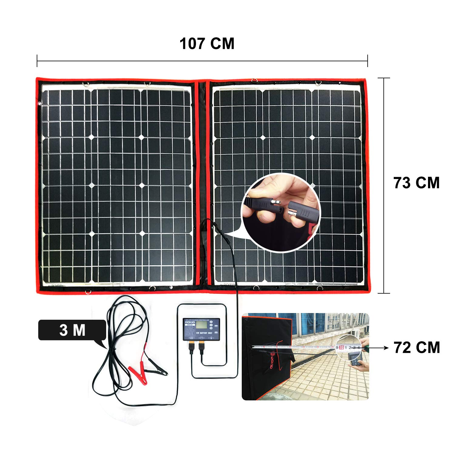 DOKIO 100 Watts 12 Volts Monocrystalline Foldable Solar Panel with Charge Controller by DOKIO (Image #6)