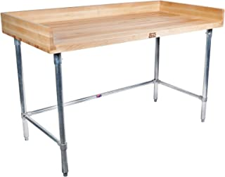 """product image for John Boos DSB07 Maple Wood Top Stallion Work Table, 4"""" Coved Riser Rear and Sides, 1-3/4"""" Thick, Stainless Steel Legs, Adjustable Bracing, 60"""" Length x 30"""" Width"""