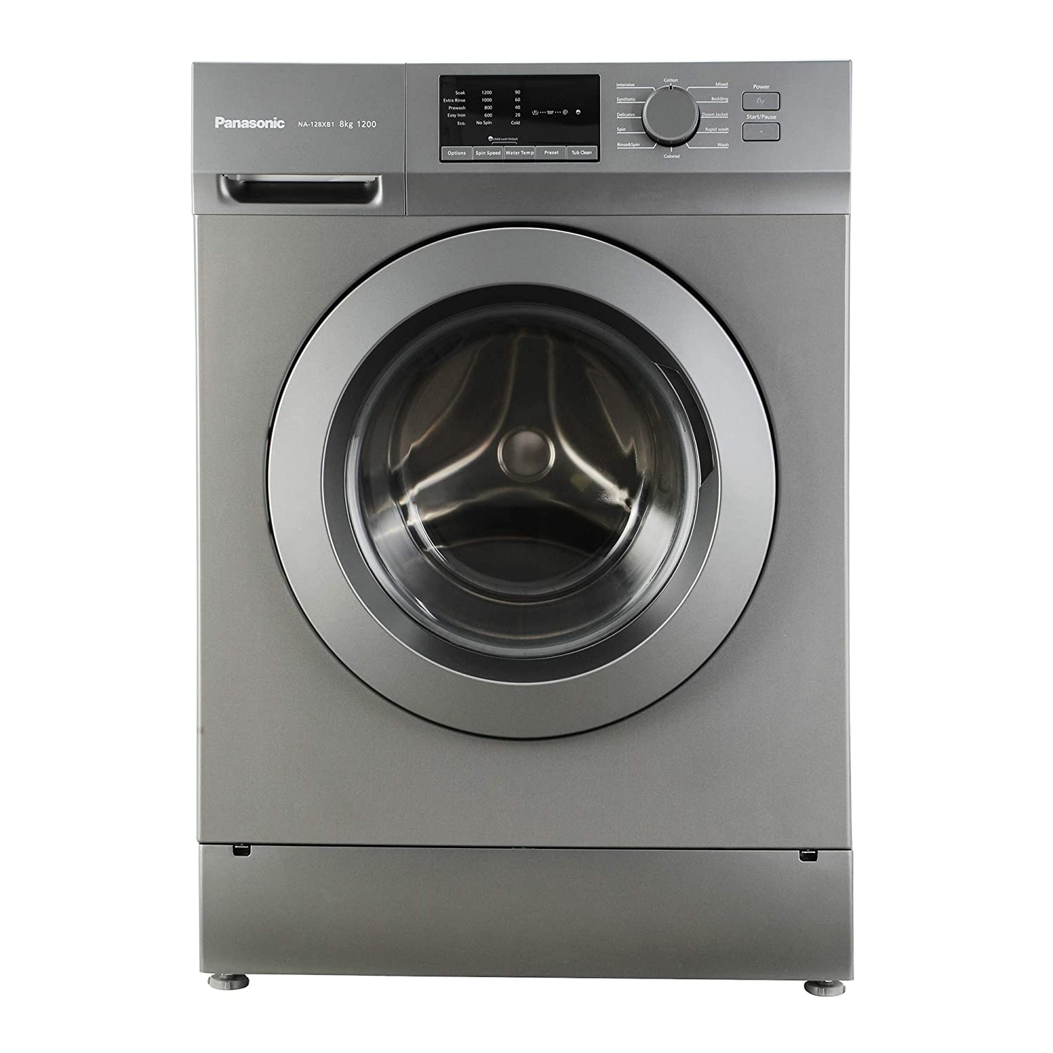 Panasonic 8 kg Fully-Automatic Front Loading Washing Machine (NA-128XB1L01, Silver, Inbuilt Heater)