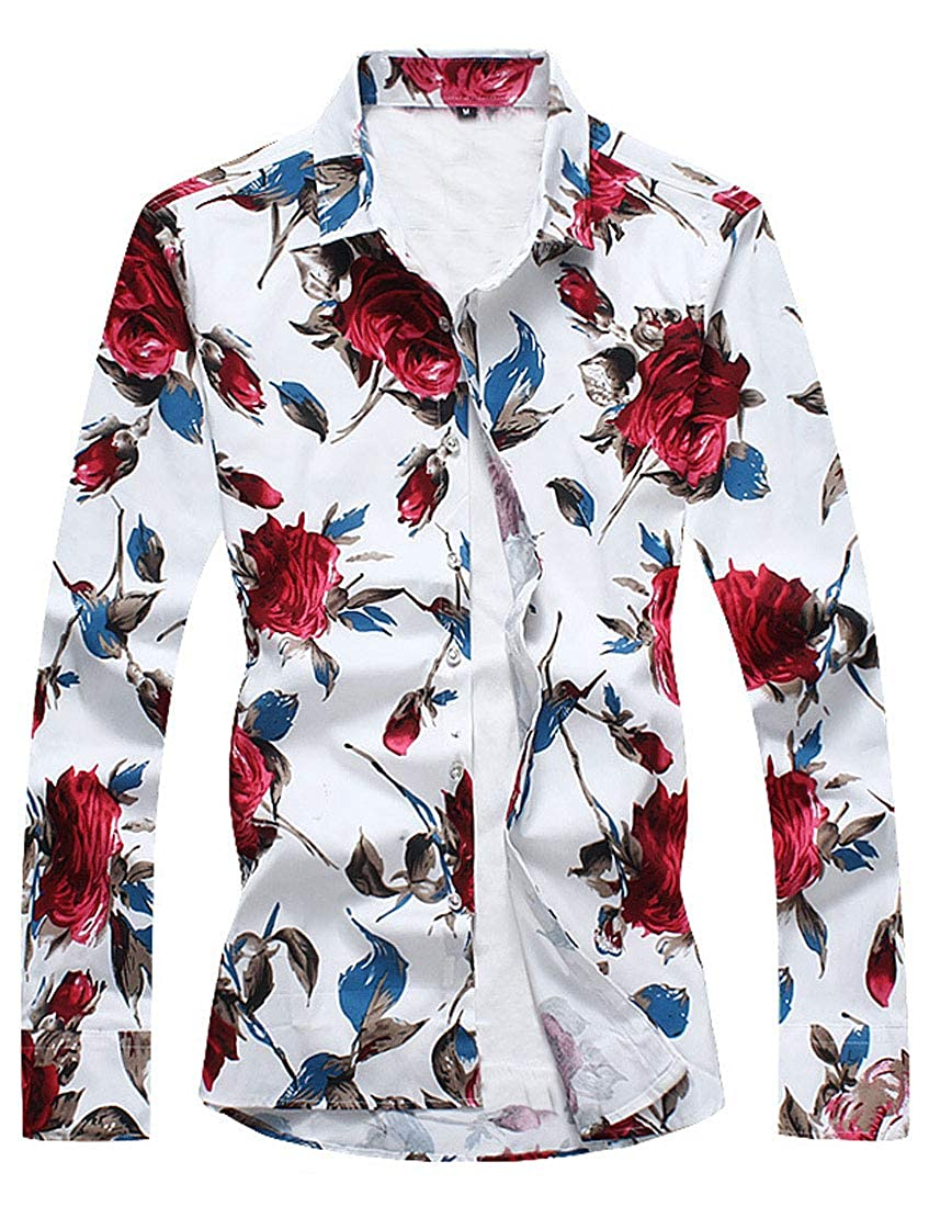 FirH Men Colorful Pattern Plus-Size Long Sleeve Graphic Print Novelty Shirt