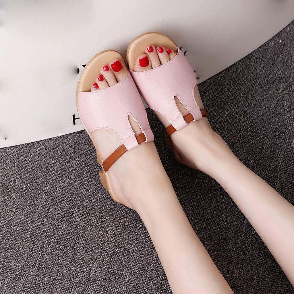 YEZIJIN Hot Sale Fashion Summer Ladies Solid Color Wild Open Toe Sandals Low Heel Beach Slippers Slipper Heels Platform Flats Shoes for Women Ladies Girl Indoor Outdoor Clearance 2019 Best