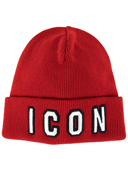 ee2548e97 Dsquared2 Men's Knm000113620001m068 Red Wool Hat: Amazon.co.uk: Clothing