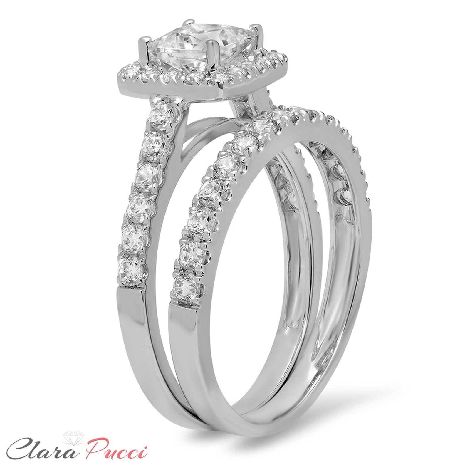 Clara Pucci 1.60 CT Princess Cut CZ Pave Halo Bridal Engagement Wedding Ring Band Set 14k White Gold, Size 8.5 by Clara Pucci (Image #2)