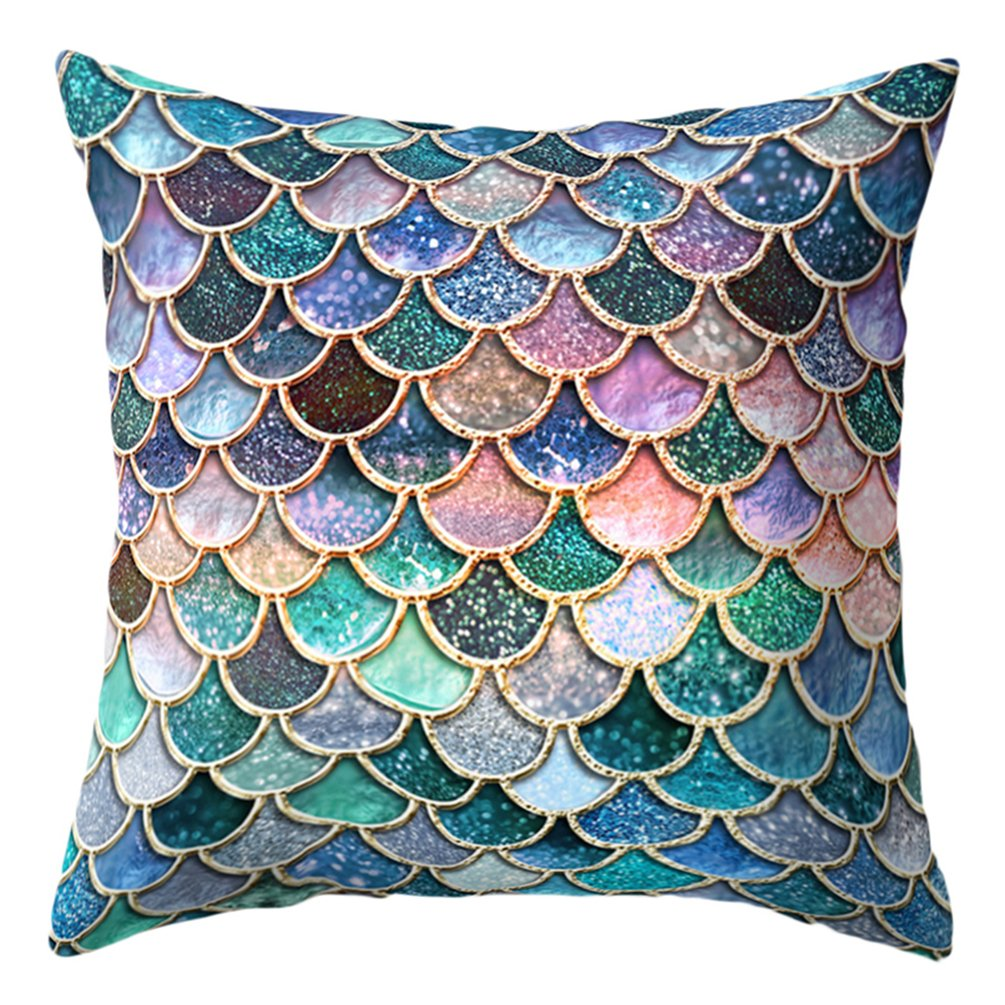 display08 18 Inch Multicolor Fish Scale Print Pillow Cover Cushion Case Home Decor (1#)