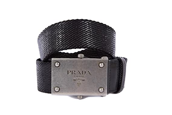 4f27c26e7d Prada men's belt original black UK size 44 2C4365 UXB F0002: Amazon ...