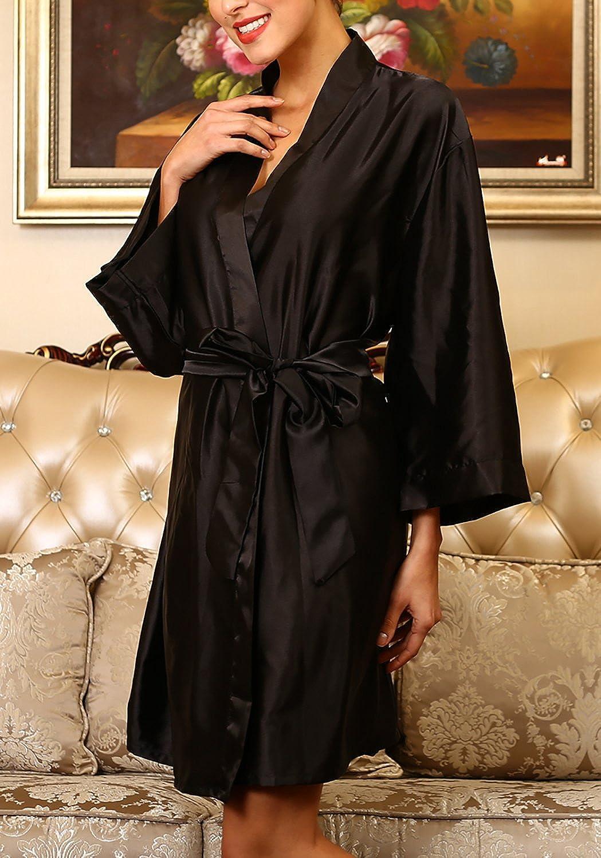 51,97 Zoll Dolamen Unisex Damen Herren Morgenmantel Kimono gro/ße Gr/ö/ße f/ür Alle B/üste 132cm Satin Nachtw/äsche Bademantel Robe Kimono Negligee Seidenrobe Locker Schlafanzug