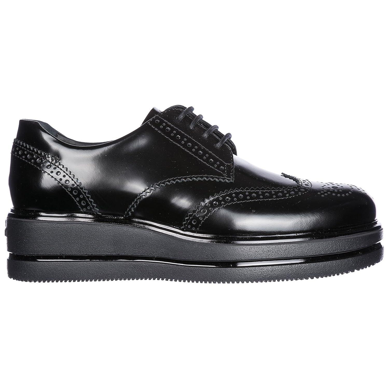 Hogan Clásico Zapatos de Cordones Mujer EN Piel Nuevo h323 Derby Negro 40 EU
