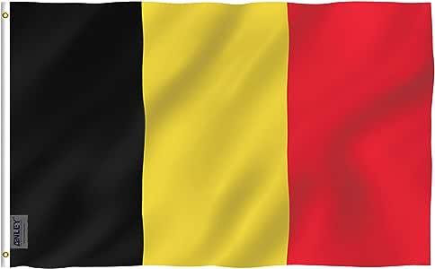 Anley Fly Breeze Bandera de Bélgica de 3x5 pies - Color vívido y Resistente a la decoloración UV - Encabezado de Lona y Doble Costura - Banderas Nacionales belgas Poliéster con Arandelas: