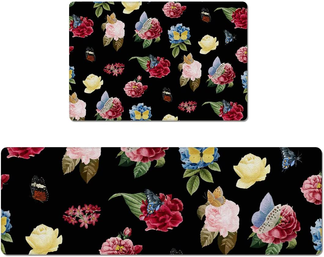 "Prime Leader 2 Piece Non-Slip Kitchen Mat Rug Rubber Backing Doormat Set Watercolor Flower Butterfly Black Pattern Kitchen Rugs Comfort Standing Mat PVC Leather Floor Mat 18""x30""+18""x47"""