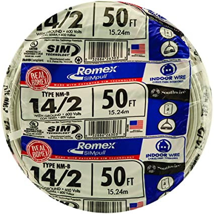 Southwire 28827422 50\' 14/2 with ground Romex brand SIMpull ...
