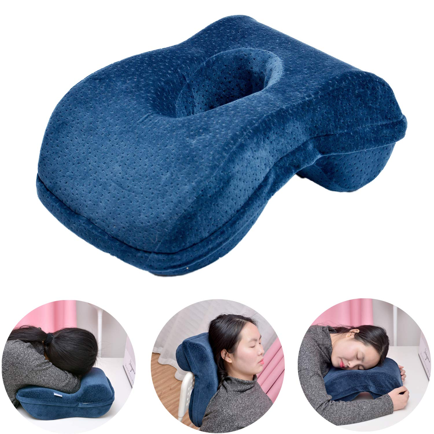 Nap Sleeping Face Pillow - Bamboo Charcoal Pure Memory(slightly hard)Foam Nap Pillow Slow Rebound Desk Pillow with Hollow Design for Face Down pillow Sleeper Back Support, Removable Washable Velvet Co