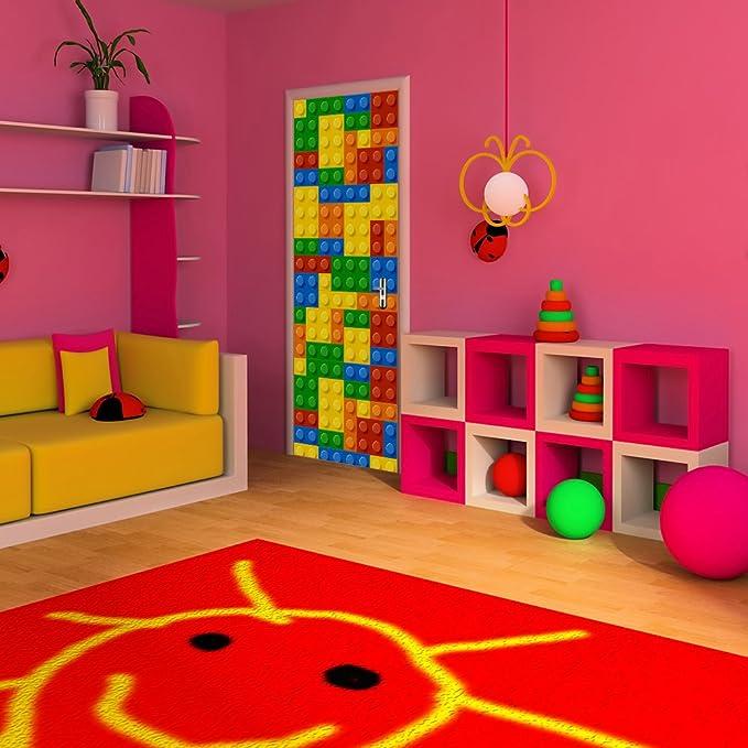 Yongqiang 3D Etiqueta De La Puerta Pegatina De Pared Sala Cuarto Decoración Mural Pegatina Lego para Niños Papel Pintado Auto-Adherente Desmontable ...