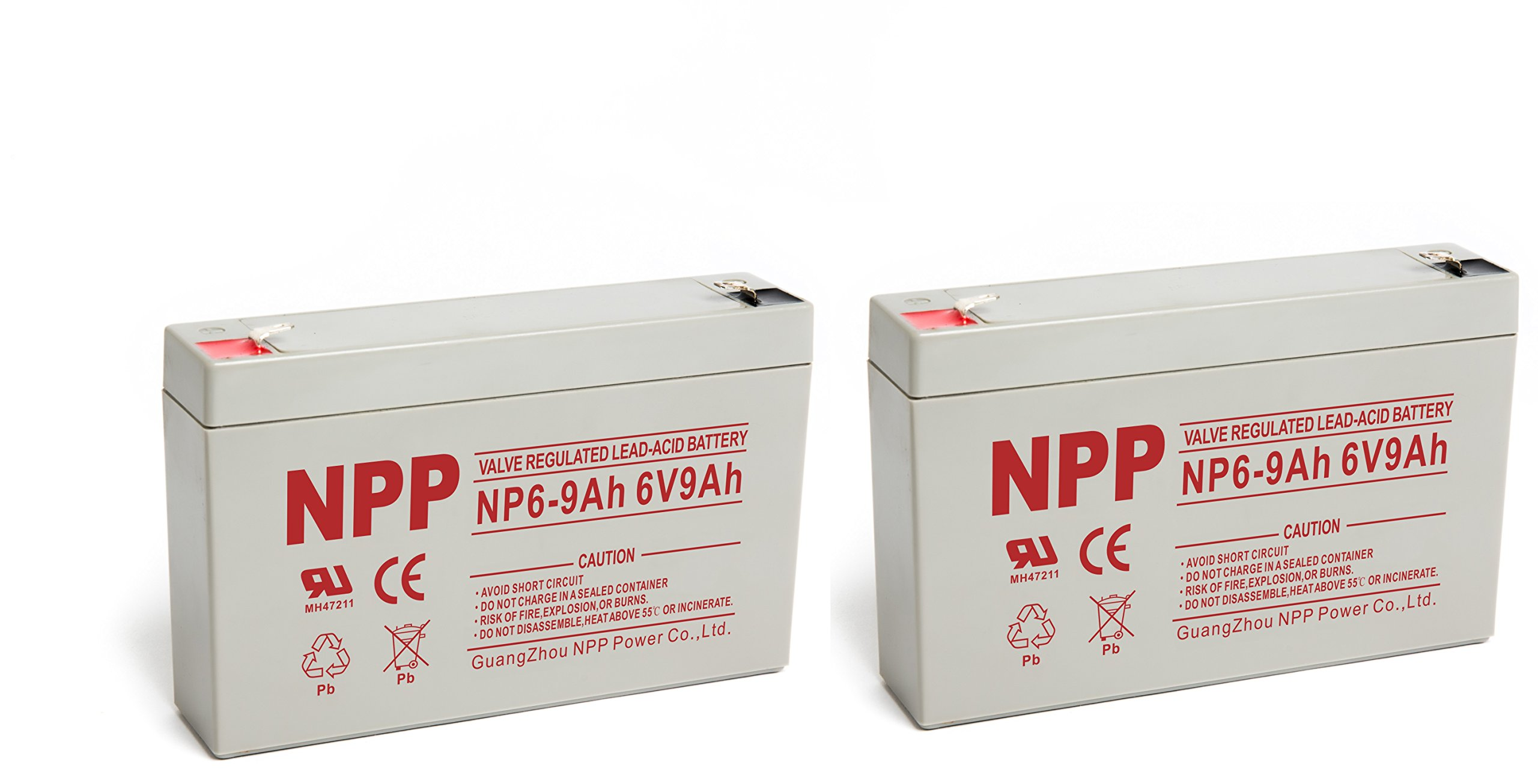 NP6-9Ah 6V 9Amp 6 Volt 9Ah SLA Battery With F1 Style Terminals/(2pcs)