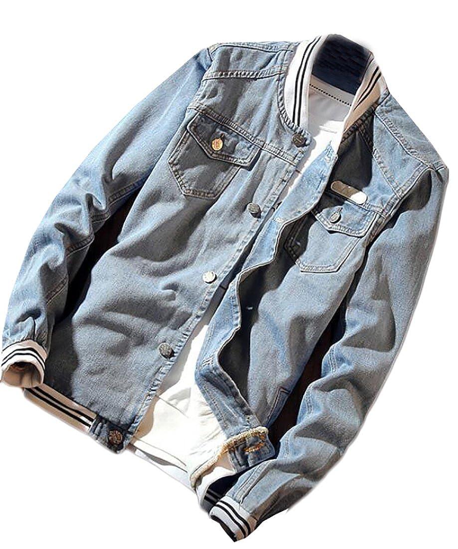 BU2H Men's Slim Fit Lightweight Patch Striped Denim Bomber Jacket Coat