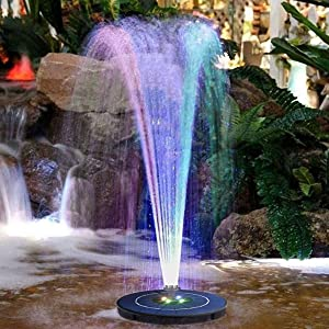 Vizor Solar Fountain Pump Bird Baths Bird Bath Fountains Solar Power Small Upgraded 3.8w Solar Fountain (with 6 Nozzles), Outdoor Pond, Bird Bath, Swimming Pool, Fish Tank, Garden