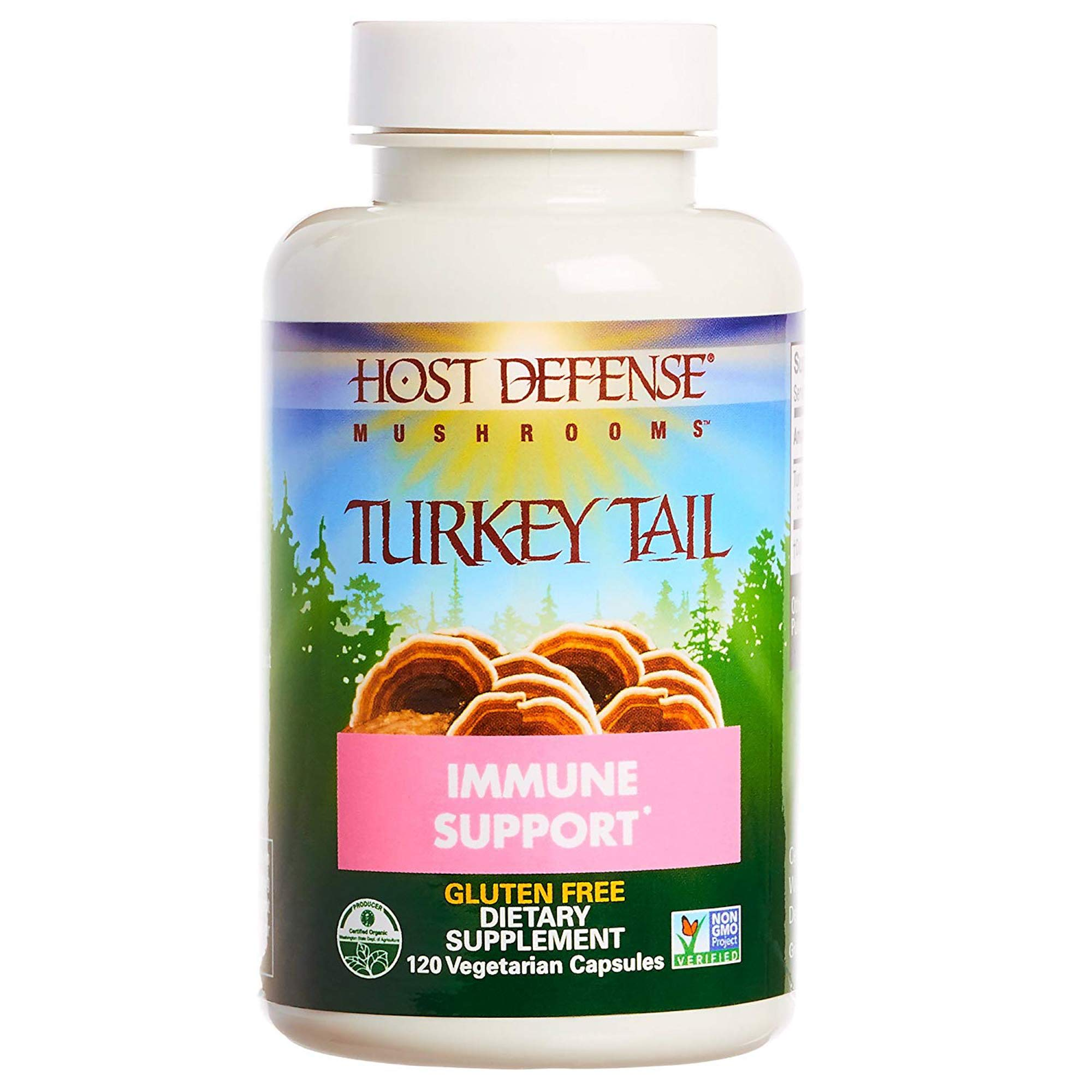 Host Defense - Turkey Tail Mushroom Capsules, Naturally Supports Immune Response, Non-GMO, Vegan, Organic, 120 Count
