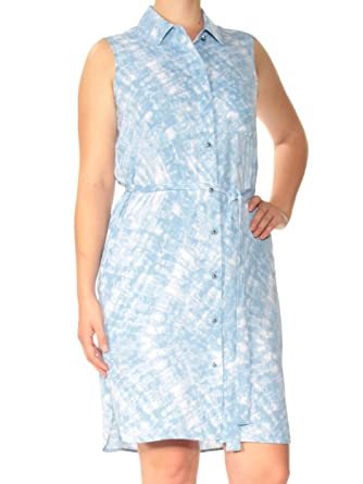 19843c1d Calvin Klein Womens Blue Belted Printed Sleeveless Collared Above The Knee  Shift Dress Size: 8: Amazon.co.uk: Clothing