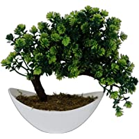 Pindia Artificial Bonsai Plant Tree Green Flowers with Pot