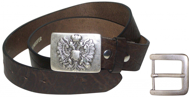 FRONHOFER Traditional belt, genuine natural leather, interchangeable, plus sizes, Size:waist size 47.5 IN XXL EU 120 cm, Color:Brown