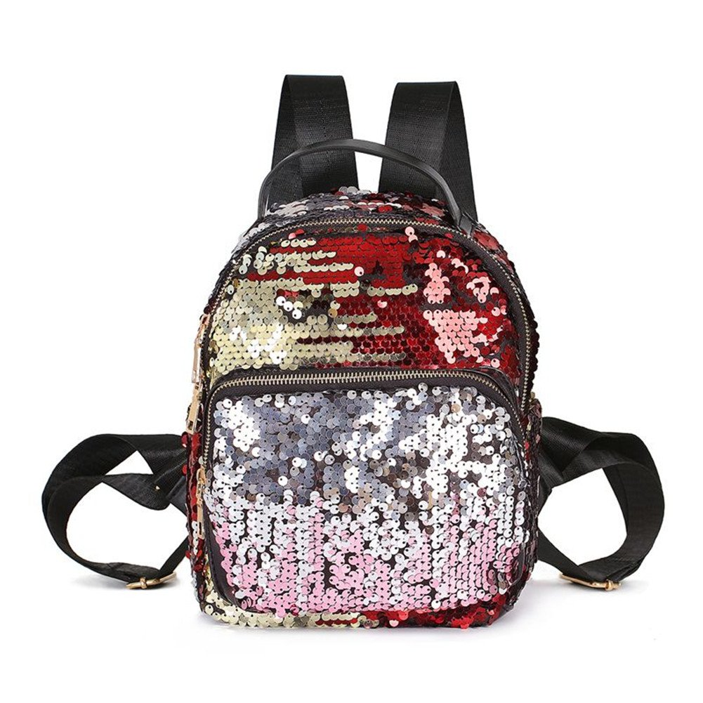 Girls Sequin Small Backpack Purse Leather Glitter Shoulder Bag Casual Daypack School Bag Blue