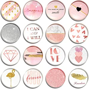 Cosylove 16pcs Refrigerator Magnets, Crystal Glass Fridge Magnets for Office Cabinets, Whiteboards, Photos, Beautiful Decorative Magnets for Decorate Home (Rose Gold)