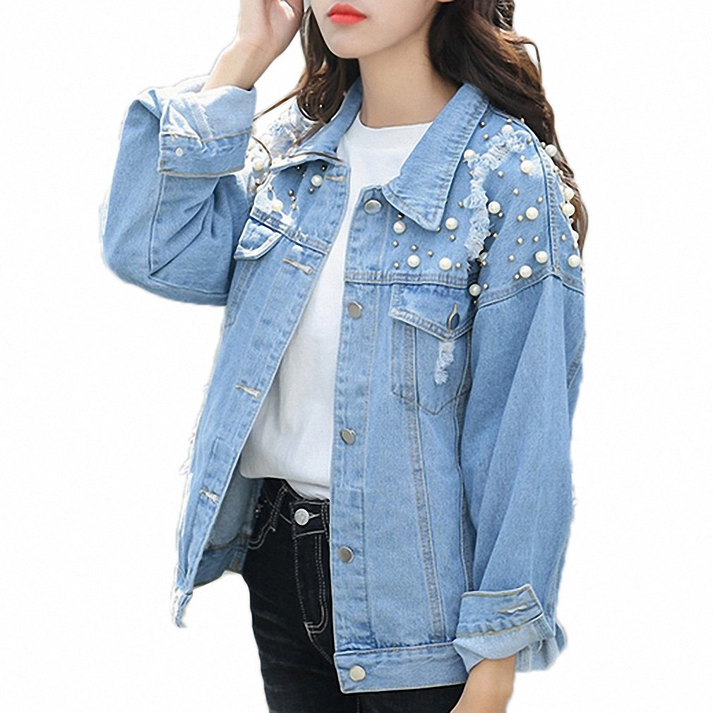 Huiwa Womens Denim Jacket Pearls Beading Jeans Coat Loose Long Sleeve Ripped Jackets at Amazon Womens Coats Shop