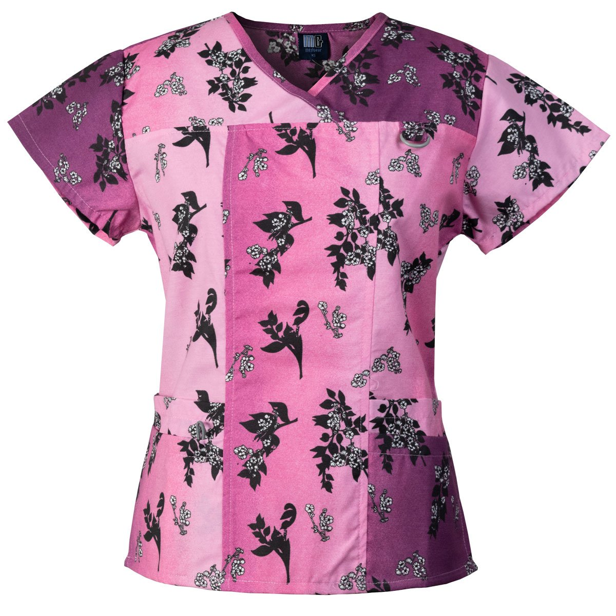 f788f295793 Medgear fashion printed scrubs top for women, features double bottom  pockets, chest ID loop and bungee cord on right pocket .