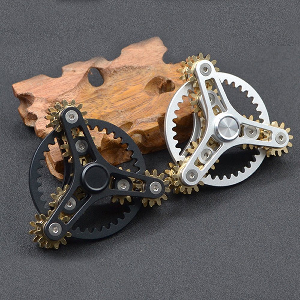 FREELOVE 9 Series Gear Pure Copper Brass Fidget Spinner Toy EDC Industrial Mechinery Disassemble R188 Silent Stainless Steel Bearing,3~5 minutes (7 Gear Wind Fire Wheel Black, 7 Gear Wind Fire Wheel) by FREELOVE (Image #5)