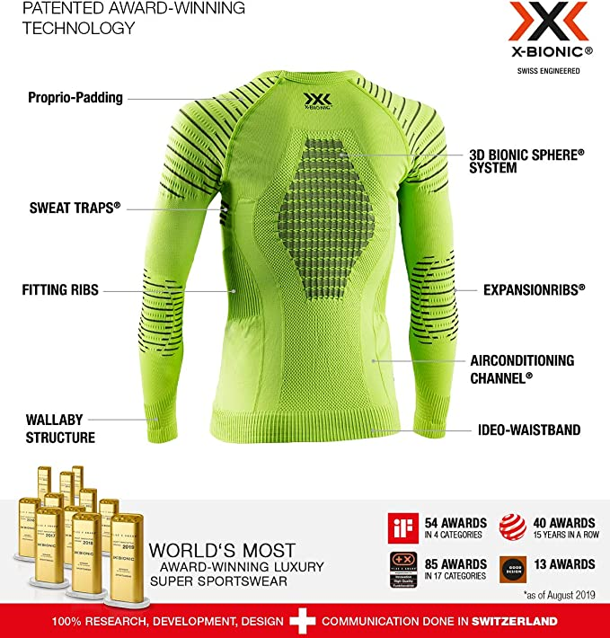 XL Strato Base Camicia Funzionale Unisex Bambini Green Lime//Black X-Bionic Invent 4.0 Round Neck Long Sleeves
