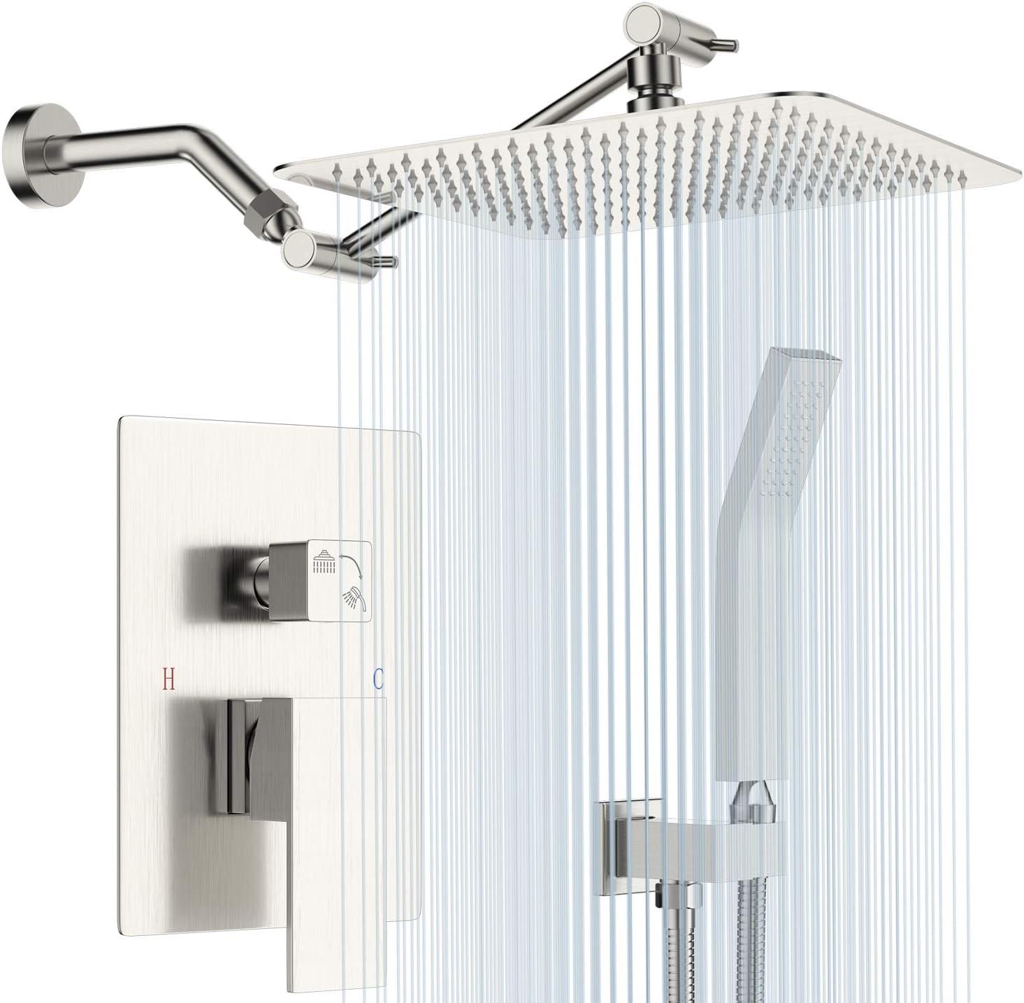 Shower System with Shower Arm Extender, Adjustable Rainfall Shower
