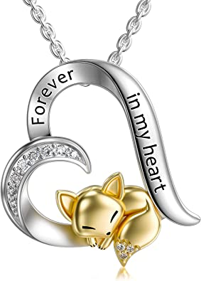 Sterling Silver Rabbit Butterfly Turtle Fox Necklace Heart Pendant Forever in My Heart Necklace for Women Girls Friends