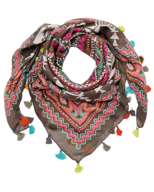 ImiLoa buntes Dreieckstuch, Bunt mit Quasten ,Aztek Muster, Hippie Tuch, Bohemian Tuch, Sommer Tuch, leichtes Tuch, Strand tuch, leichter Schal