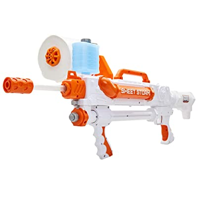 Toilet Paper Blasters Sheet Storm, Toy Blaster Shoots Rapid Fire TP Spitballsup To 50' –Uses Real Toilet Paper Super Fun Gift for Kids, Teens, College Students, Dads, Adults –Outdoors & Indoors: Toys & Games