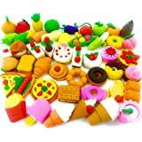 Food Erasers OHill Pack of 46 Pencil Erasers for Kids Pull Apart 3D Mini Erasers Assorted Food Cake Dessert Puzzle…
