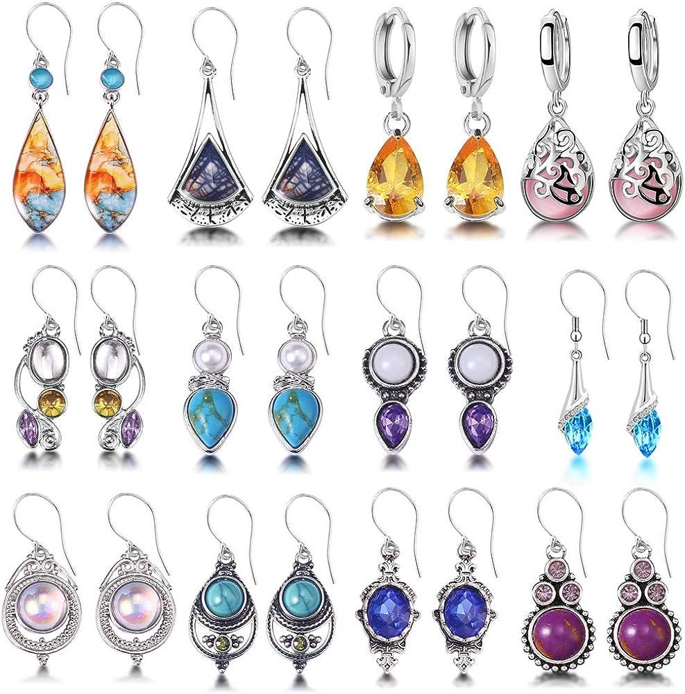 12 Pairs Teardrop Dangle Earrings For Women Girls Boho Jewelry Waterdrop Earrings Set for Teens