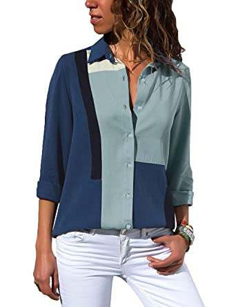 79bd022d965 Vetinee Women s Collared Long Sleeve Shirt Button Down Colorblock Blouse  Top Dark Blue Size S