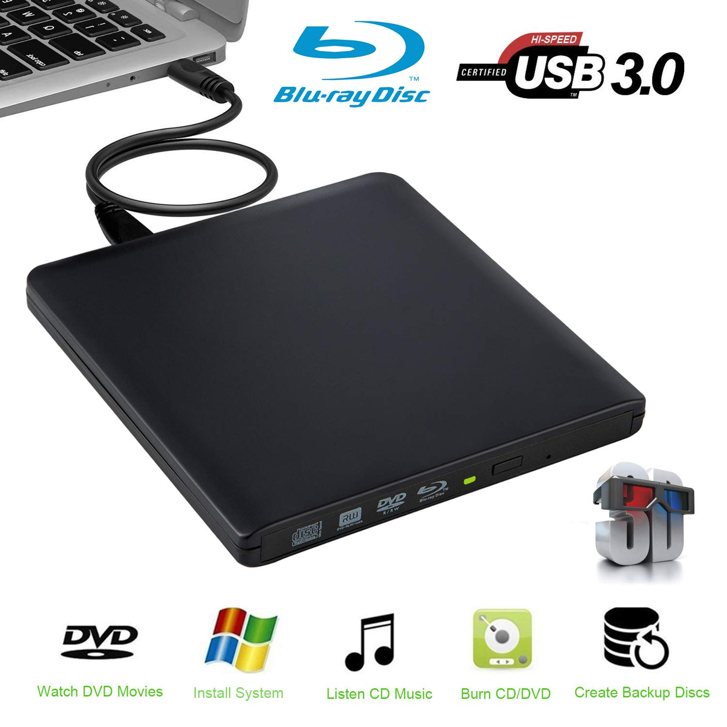 External Blu Ray Drive 3D,External Blu-ray Reader - Supports BDXL/BD/DVD/CD -6x Slim Portable USB 3.0 Blu-Ray DVD Player for Mac OS Windows7/8/10 PC Plug and Play No Need Install Driver