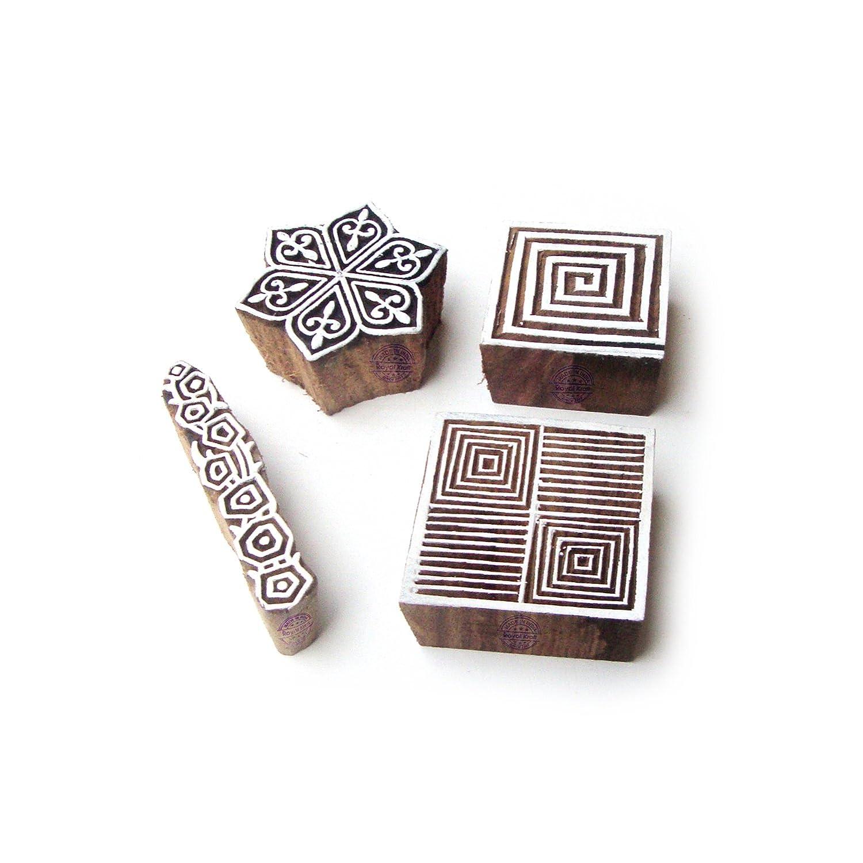 Royal Kraft Spirale e Esagono Tradizionale Designs Legno Stampa Timbri (Set di 4) Htag0986