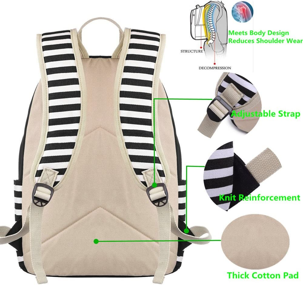 Women Laptop Backpack High School Bookbag 15.6 inch Casual Travel College Canvas with USB Charging Port 1-Black